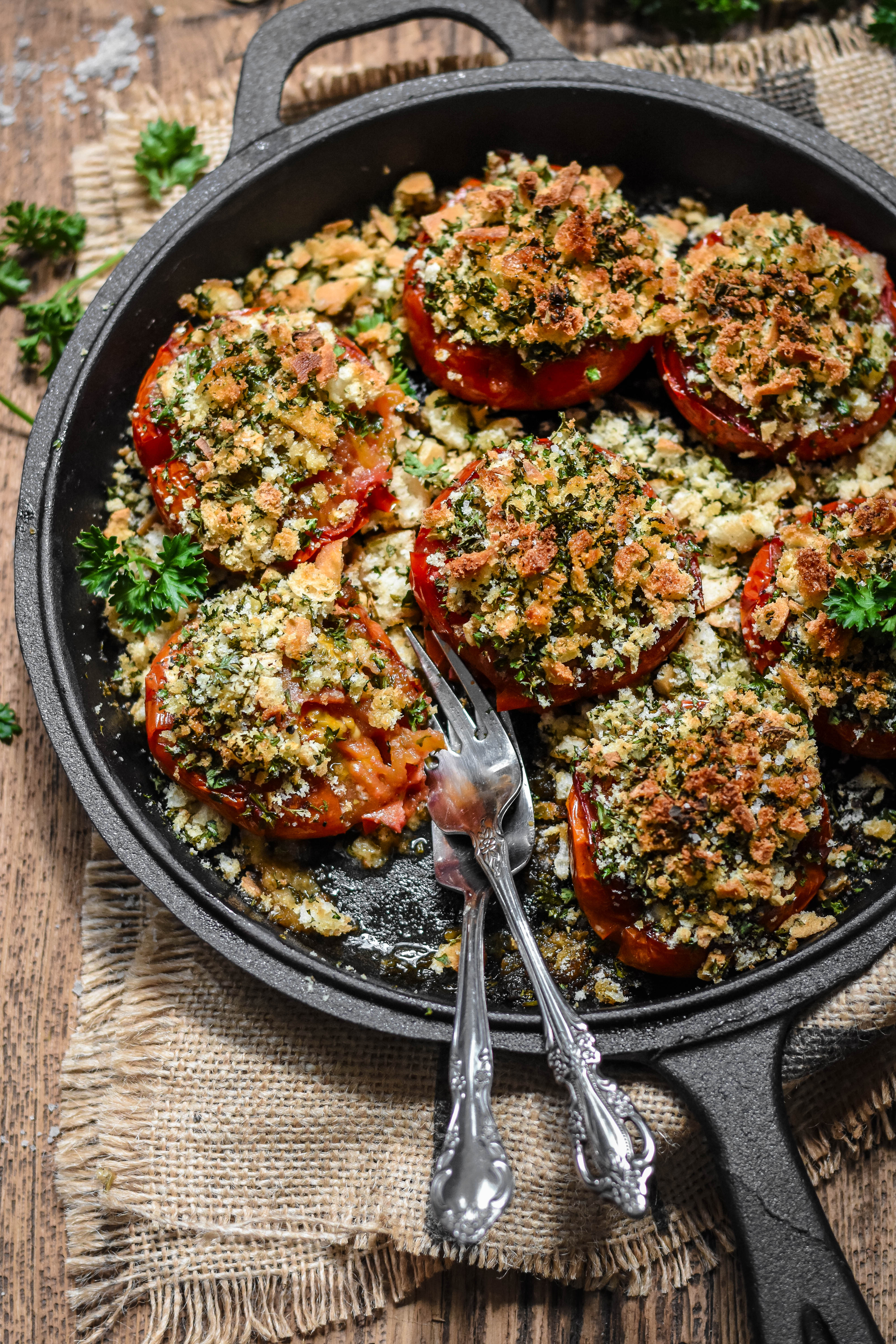 Provence Style Tomatoes With Breadcrumbs And Herbs Tomates A La