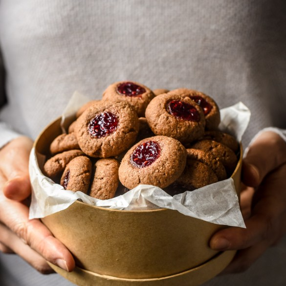 Cocoa and Almond Thumbprint Cookies from Alsace (Linzele)