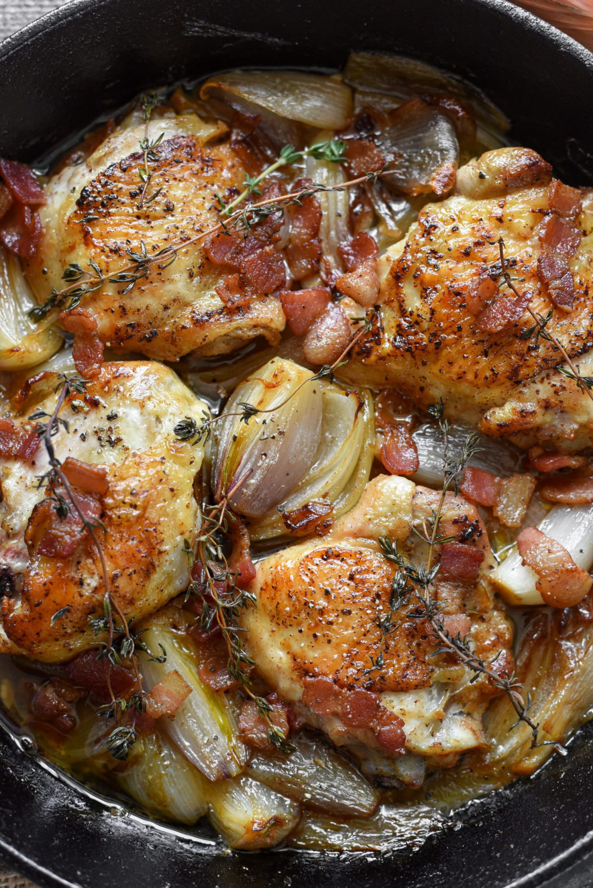 Chicken Fricassée with Shallots and Baco