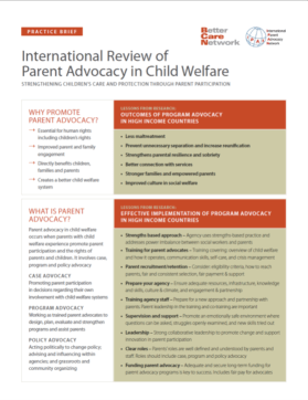 Practice brief for International Review of Parent advocacy in Child Welfare