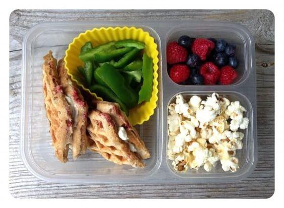 Raspberry Almond Lunch Box Waffles