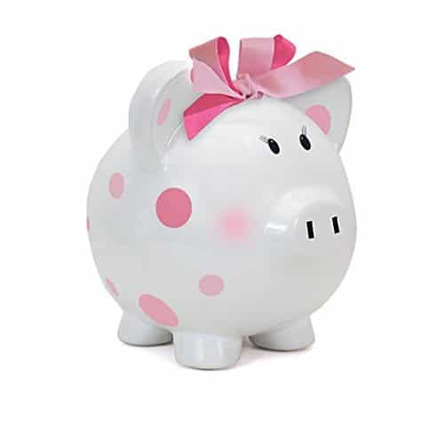Child to Cherish Large Pig White with Polka Dot Toy Bank, Pink