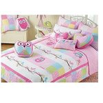 Charles Street TWIN Quilt Pink White Purple Owls Birds