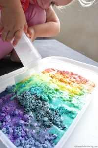 Rainbow Fizzy Cloud Dough