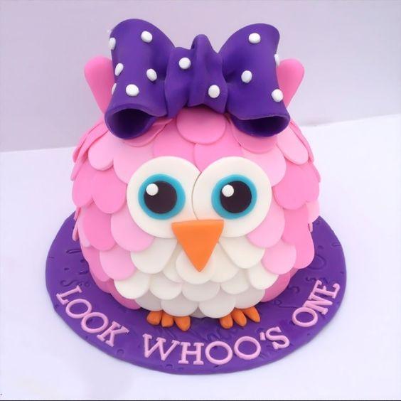 owl cake first birthday