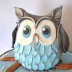 grey and blue owl cake