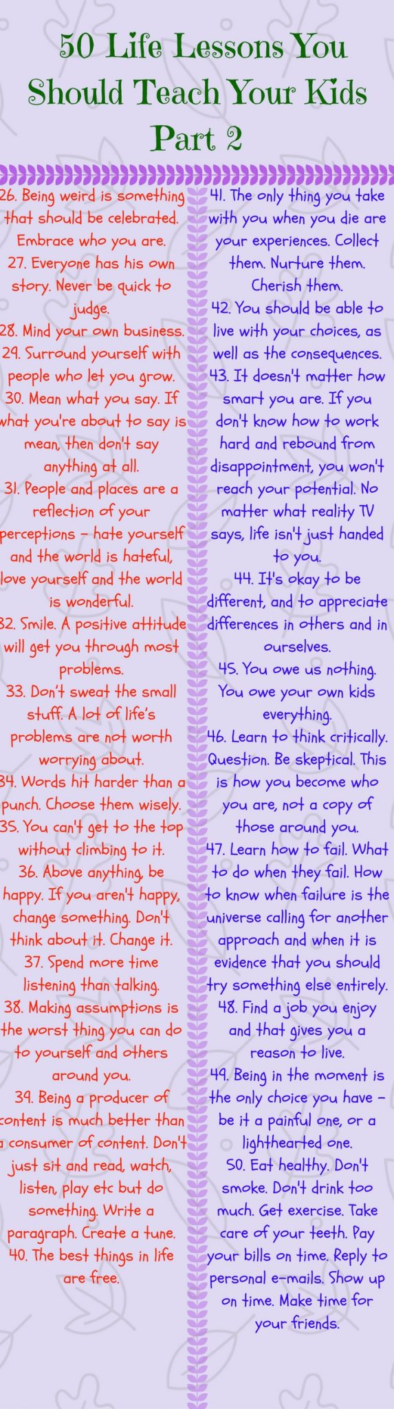 50 Life Lessons You Should Teach Your Kids Part 2