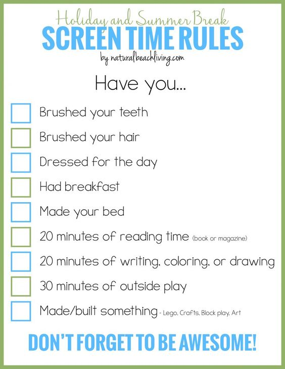 Screen Time Rules For Holidays