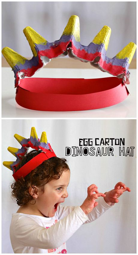 Egg Carton Dinosaur Hat Craft for Kids