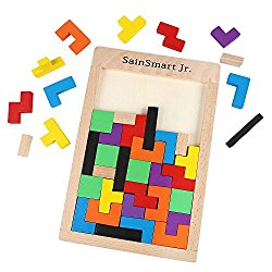SainSmart Jr. Wooden Tetris Puzzle Anxiety Relief Toy Relieve Stress, Puzzle Brain Games Tease Wood Burr Tangram Jigsaw Toy Educational Toys Games (40 Pieces)