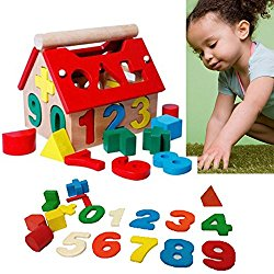 Baby Toys Blocks Intellectual House Wood Building Educational Developmental Kids