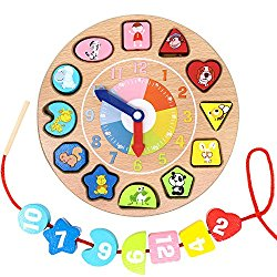 Lewo Wooden Shapes Sorting Teaching Clock Lacing Beads Math Puzzle Educational Toys for Kids