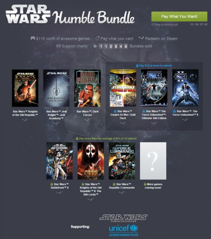 Star Wars Humble Bundle  pay what you want and help charity
