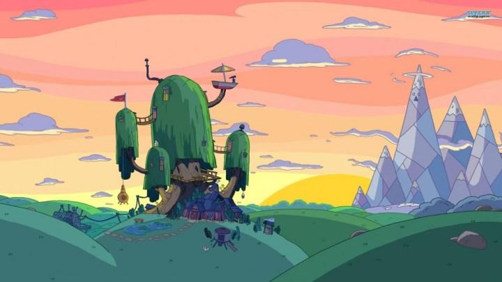 Fond d'écran : Adventure Time - Maison de Finn & Jake et soleil couchant