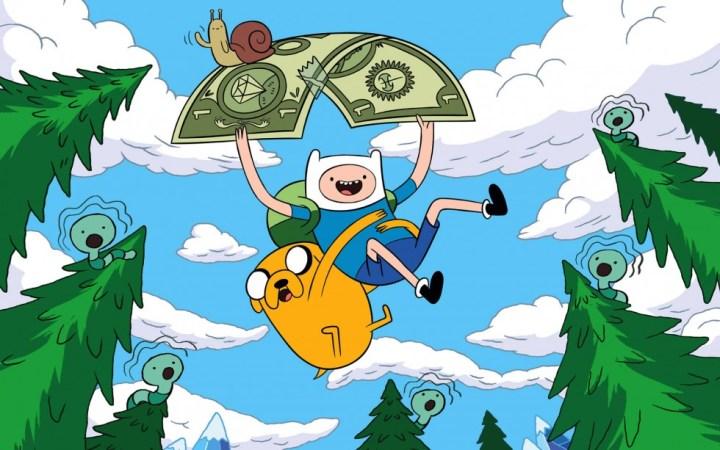 Fond d'écran : Adventure Time - Finn et Jake en parachute doré