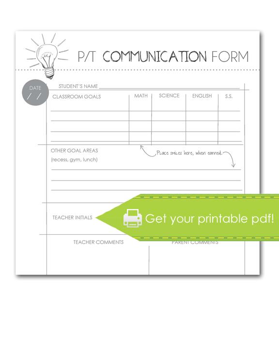 Parent-Teacher Communication Form, print