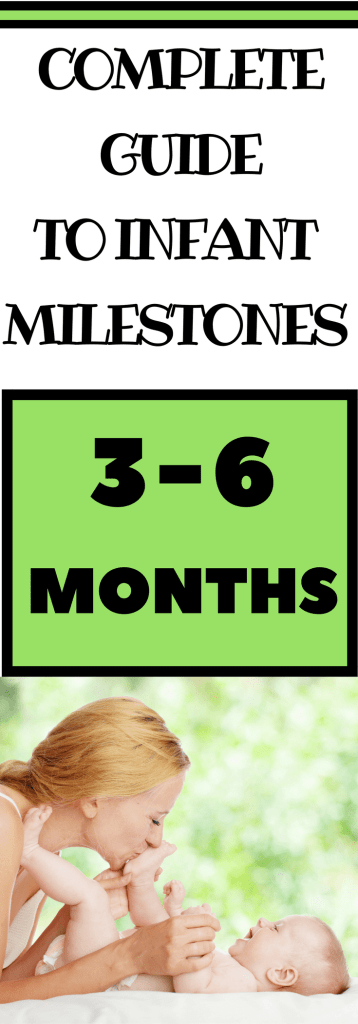 Are you wondering what infant milestones look like in your baby from 3-6 months? Read all about what skills to expect and simple play ideas to encourage child development. No lesson plans needed. Teach your baby through activities within your daily routines.