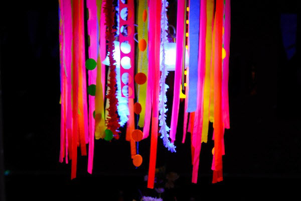 Neon Glow Chandelier Blacklight Birthday Party Decoration Ideas