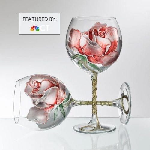 Hand Painted Rose Glasses for Valentine's Day