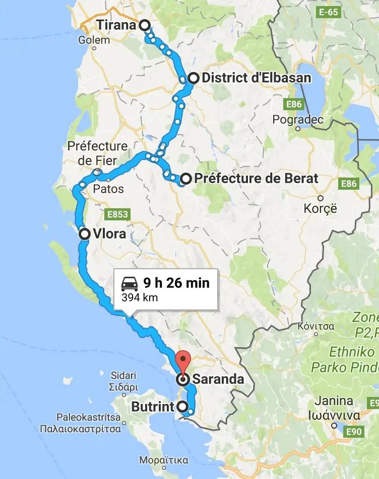 itinéraire roadtrip albanie