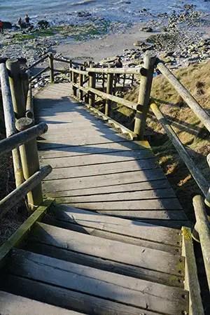 Côte d'Opale, escalier en bois accédant à la pointe aux oies, Côte d'opale