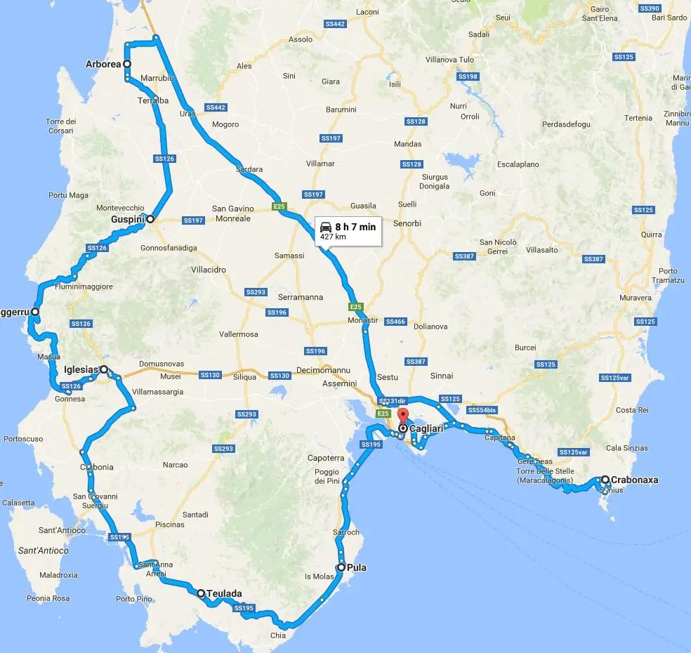 itinéraire Road trip en Sardaigne en camping-car