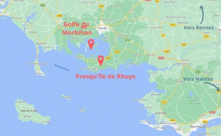 Presqu'île de Rhuys en famille - Localisation