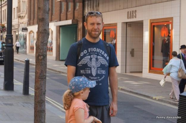 Mr A outside Daks, Jermyn Street where he bought his wedding suit, lots happens in nine years