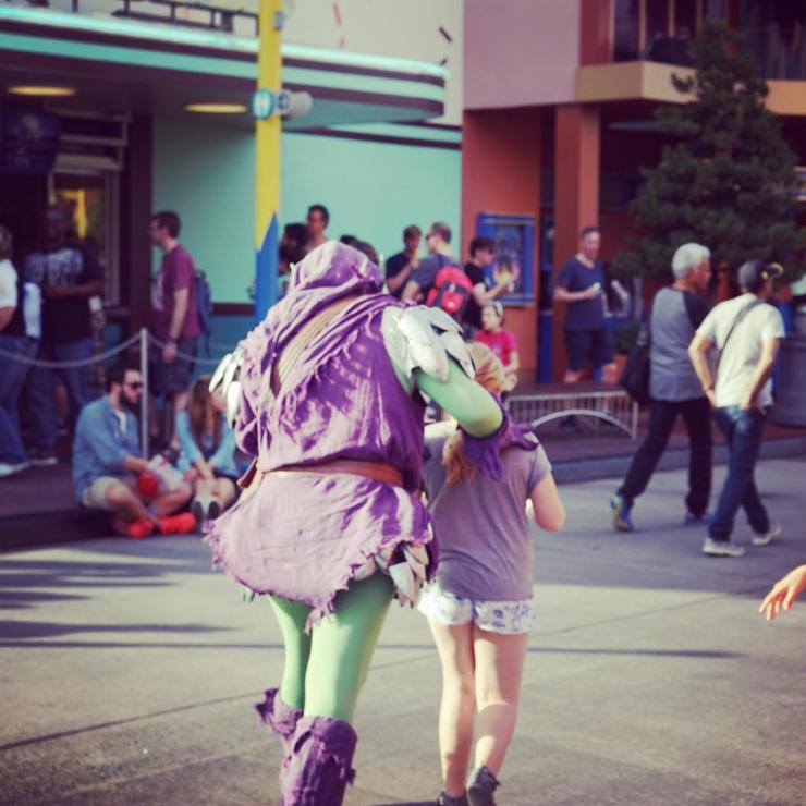 The moment when the Green Goblin ran off with L yesterday. He also took over the comic shop and wrapped G's toy in about a hundred layers of paper and all the sticky tape. Love the lengths the actors go to, to make it an immersive experience. In Marvel Super Hero Island the characters make regular appearances on three wheeled motorbikes and in person. The Spider-Man ride was amazing. Using 4D film and a ride to take you right inside a spidery adventure - you even fall from a building and get caught in a spidey's web! #universalmoments @universalorlando #seizetheholiday @virginholidays