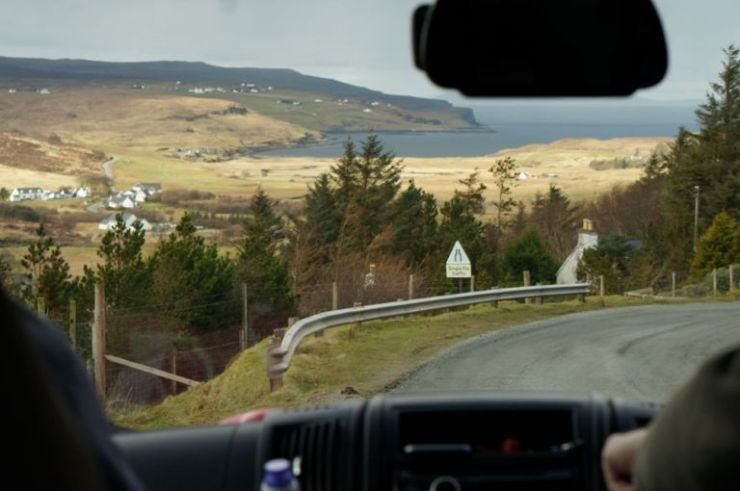 Motorhome hire - driving through Skye in Scotland