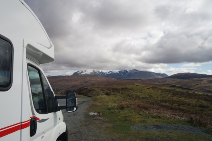 Motorhome hire - a quick nap in the motorhome under the Cuillins in Skye