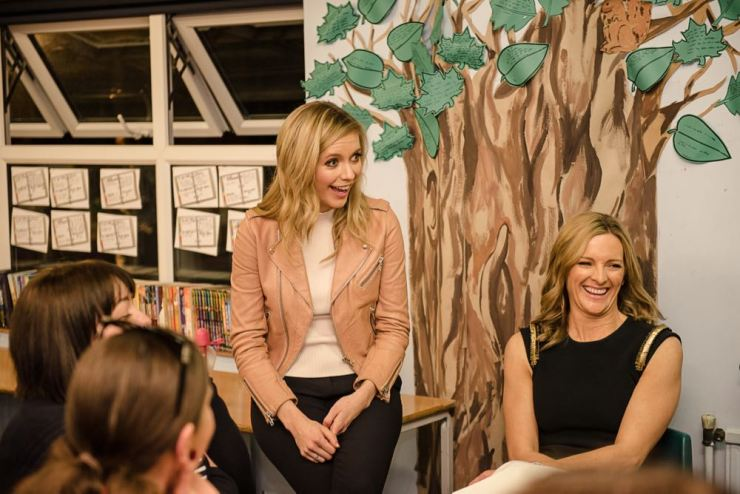 Rachel Riley chatting with parenting bloggers after the event