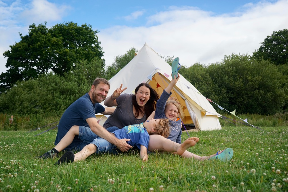 Family Camping with campfires at Embers Bentley, Lewes, Sussex