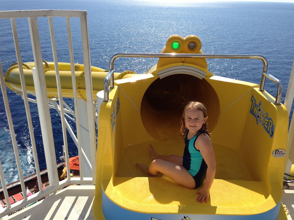 On board Carnival Sunshine water slide