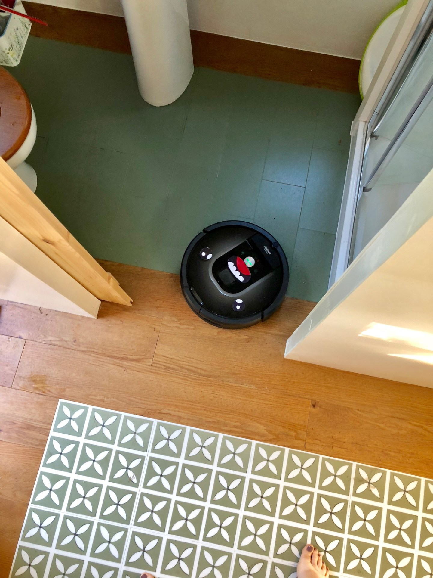 Roomba vacuum at work on the Harvey Maria floor- you can see all three floor surfaces here.