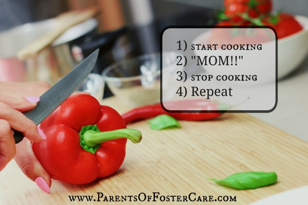 "how to make food without your kids yelling ""MOM!"" every two seconds"