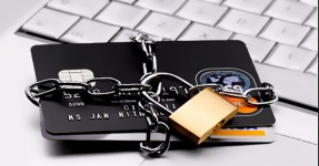 Credit cards chained up with padlock