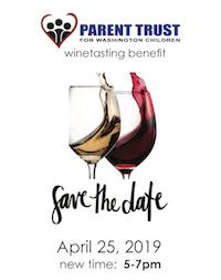 wine tasting benefit parent trust logo save the date April 25, 2019