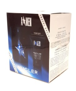 Mugler A*men Travel Exclusive Gift Set 100ml Eau de Toilette Refillable Rubber Spray + 50ml Hair and Body Shampoo
