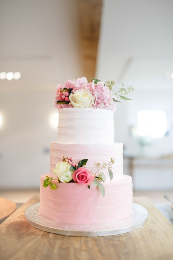 40 wedding cakes with roses you just can t resist Lovely soft pink ombre wedding cake with roses