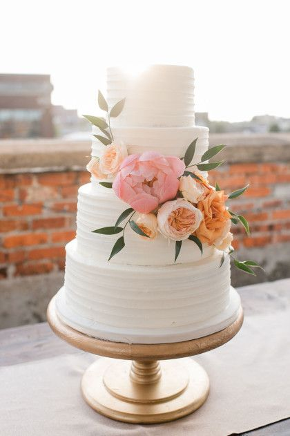 15 wedding cakes that are almost too pretty to eat Elegant white piped cake with peonies and Juliet roses for a summer rooftop  wedding