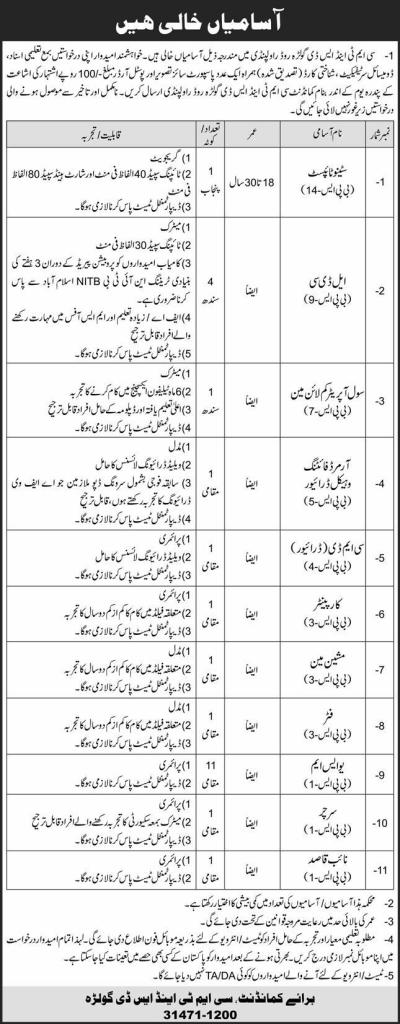 Pak Army CMT & SD Golra Rawalpindi Jobs December 2020