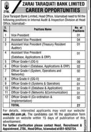 ZTBL Jobs 2021 - Zarai Taraqiati Bank Limited