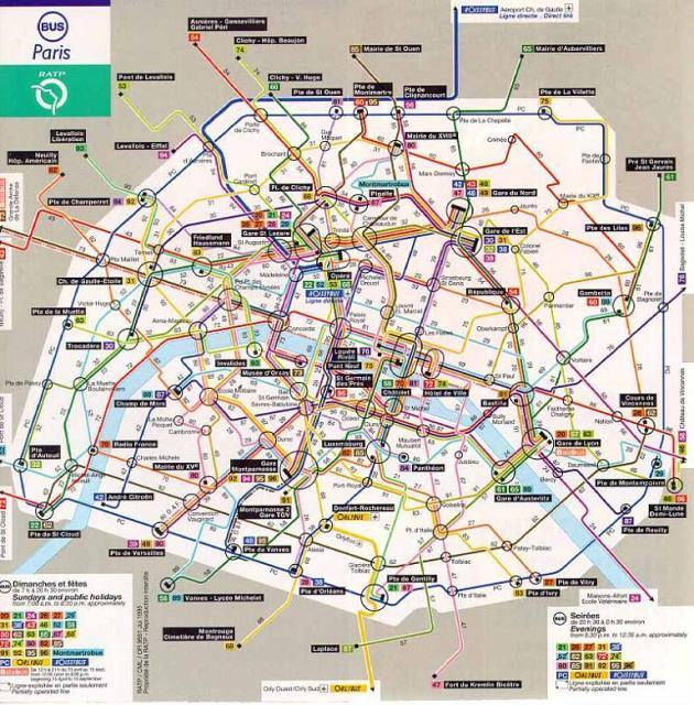 Mapa del autobús de París