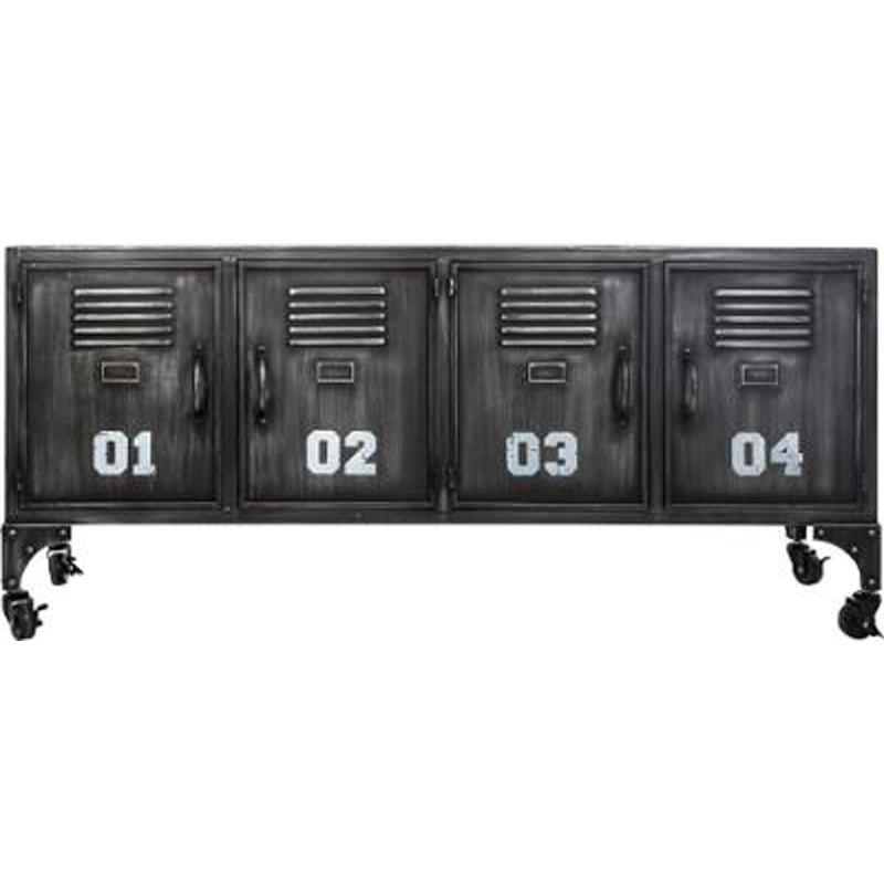 meuble bas industrielle 4 portes casiers 119cm noir