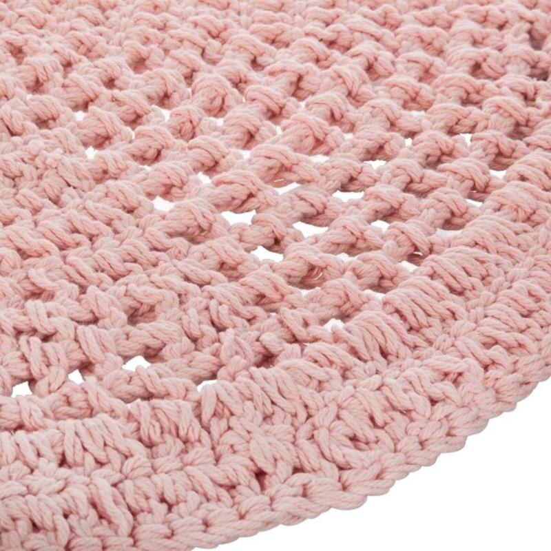 tapis rond en coton crochet 90cm rose