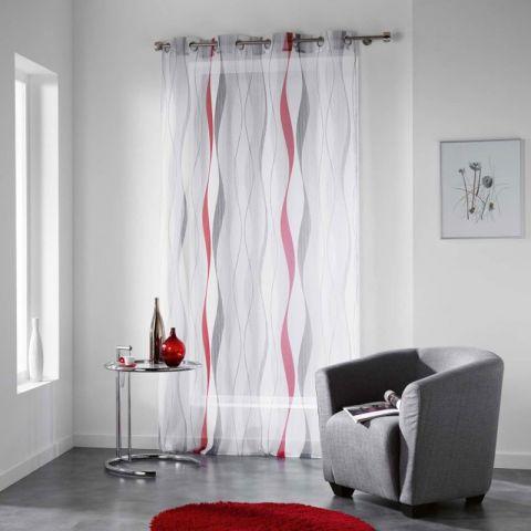 rideau voilage imprime ondulys 140x240cm rouge