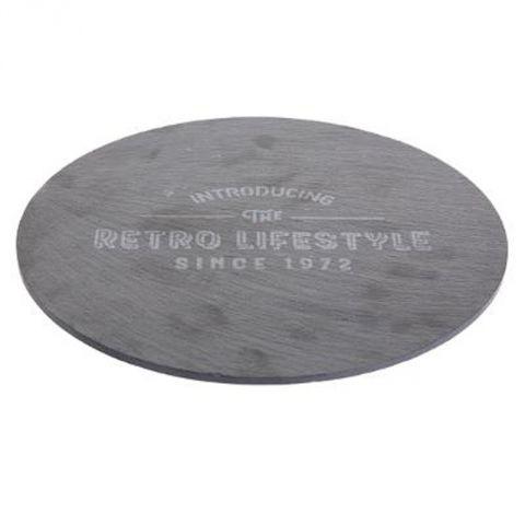 plateau tournant en ardoise retro 30cm gris