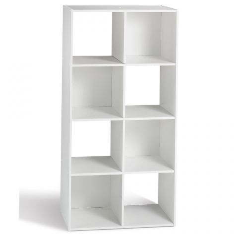 etagere bibliotheque 8 cases enimsay 62cm blanc