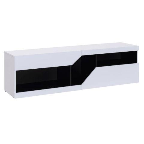 meuble tv design sullivan 160cm blanc noir
